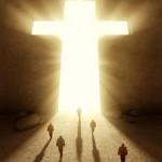 People walking towards a huge cross passage